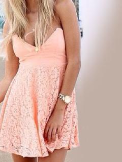 Salmon Mini Dress V Neck Sleeveless Lace Patchwork Backless Women's Summer Dresses