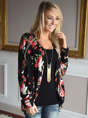 Black Cardigan Women Floral Print Draped Long Sleeve Jacket