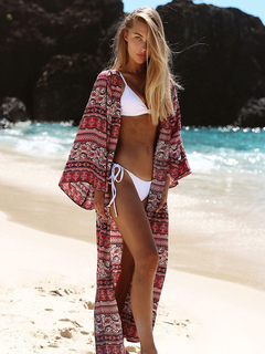 Women's Cover Ups Red Boho Print Long Sleeve Open Front Summer Beachwear