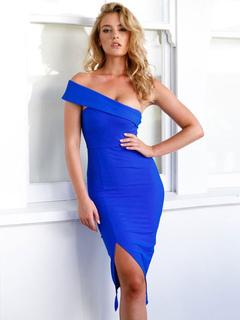 Women Bodycon Dress One Shoulder Split Blue Pencil Dresses