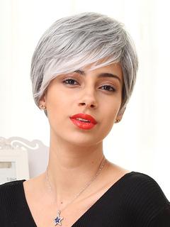 Human Hair Wigs Light Grey Layered Side Bang Short Women Hair Wig