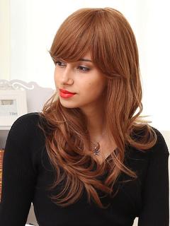 Human Hair Wigs Light Brown Side Bangs Long Curly Hair Wigs For Women