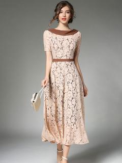 Apricot Lace Dress Turndown Neck Short Sleeve Patchwork Women's Summer Dresses