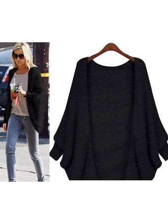 Black Cardigan Women Long Sleeve Knit Jacket