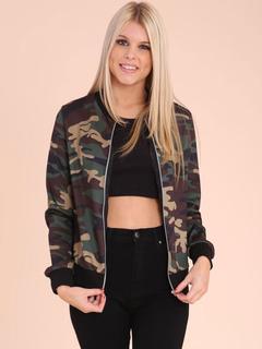 Camo Military Jacket Women Long Sleeve Round Neck Casual Jackets