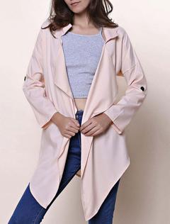 Soft Pink Longline Jacket Turndown Collar Long Sleeve Women's Flyaway Jacket