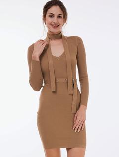 Women's Knitted Dress Light Tan V Neck Long Sleeve Women's Bodycon Dresses