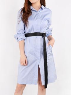 Blue Shirt Dress Turndown Collar Long Sleeve Women's Summer Dresses