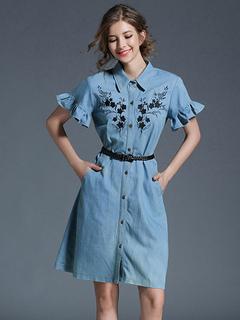 Denim Shirt Dress Light Blue Turndown Collar Bell Sleeve Embroidered Single Breasted Women's Summer Dresses With Belt
