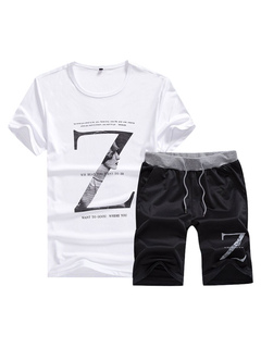2 Piece Outfit Men's White Round Neck Short Sleeve Letters Print T Shirt With Black Shorts