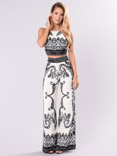2 Piece Outfits Black Spaghetti Straps Sleeveless Backless Printed Top With Pants