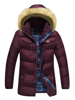 Red Winter Coat Men's Faux Fur Hooded Long Sleeve Quilted Puffer Coat