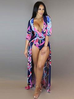 Sexy Bodysuit Dress Plunging Printed Half Sleeve High Low Women's Bodysuit