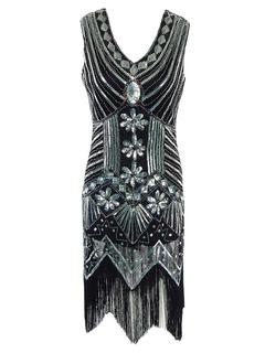 Black Flapper Dress Sequined Fringe Glitter V Neck Sleeveless Women Bodycon Dresses