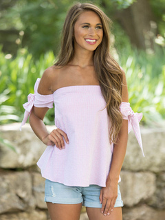 Summer Pink Blouses Off The Shoulder Short Sleeve Striped Women's Summer Top