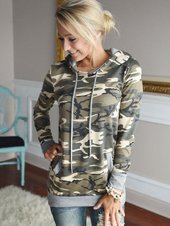 Camo Women's Hoodie Hooded Long Sleeve Sweatshirt