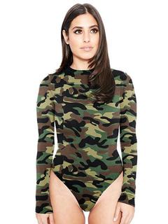 Camouflage Women's Bodysuit Crewneck Long Sleeve Bodysuit