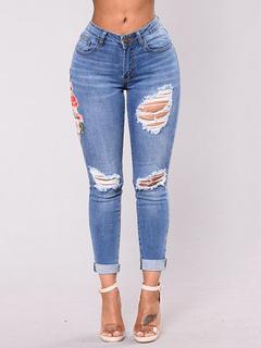 Women's Embroidered Jeans Skinny Destroyed Blue Denim Pants