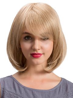 Human Hair Wigs Bobs Cut Side Swept Bangs Layered Women's Short Blonde Wigs