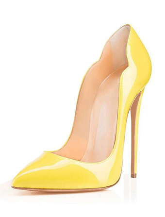 4d1eca25a9 Yellow High Heels 2019 Women Pointed Toe Patent PU Stiletto Sky High Slip  On Pumps
