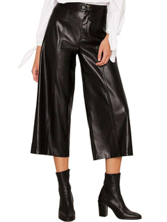 Black Women's Pants PU Loose Leg Vintage Long Pants