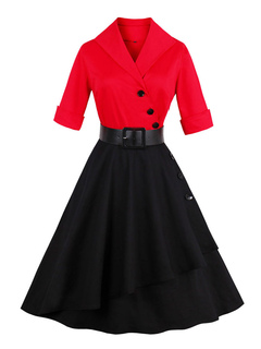 Women Vintage Dress Red V Neck Half Sleeve Two Tone A Line Swing Dresses