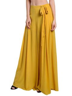 Women's Yellow Pants Pleated Tie Waisted Wide Leg Long Pants