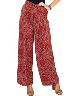 Women's Red Pants Floral Print Tie Waisted Loose Leg Long Pants