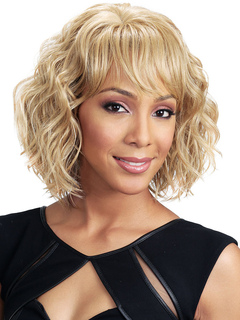 Human Hair Wigs Women's Blonde Tousled Curly Hair Wigs With Bangs