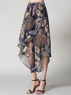 Wide Leg Pants Floral Print Irregular Design Elastic Waist Women's Brown Cropped Pants