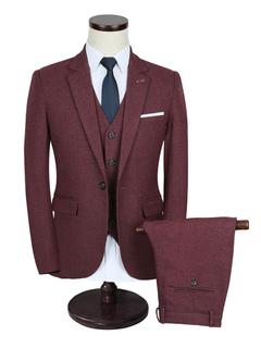Men's Wedding Suit Burgundy Lapel Collar Long Sleeve Tuxedo Suit In 3 Pcs