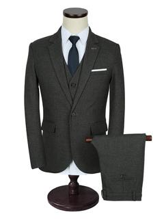 Men's Wedding Suit Deep Grey Lapel Collar Long Sleeve Tuxedo Suit In 3 Pcs