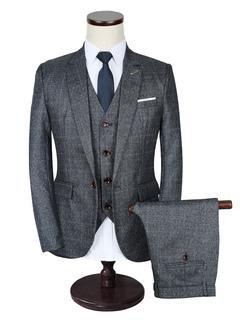 Men's Wedding Suit Deep Grey Plaid Lapel Collar Long Sleeve Tuxedo Suit In 3 Pcs