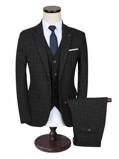 Tuxedo Wedding Suits Black Plaid Men's Formal Wear Center Vent Notch Laple Groom Suits 3 Pcs