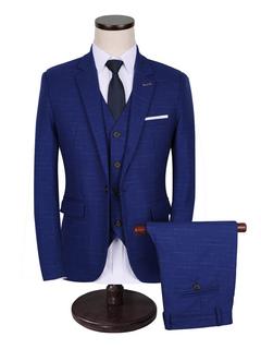 Groom Wedding Suits Tuxedo Blue Center Vent Notch Laple Men's Formal Wear 3 Pcs