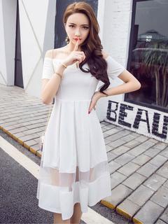 White Skater Dress Off The Shoulder Short Sleeve Tulle Patchwork Women's Summer Dresses