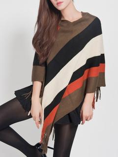 Khaki Cape Coat V Neck Half Sleeve Striped Fringe Knit Women's Ponchos