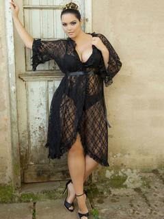 9ef5716806f Plus Size Cover Ups Black Lace Semi Sheer 3 4 Length Sleeve Ruffles Women s  Long