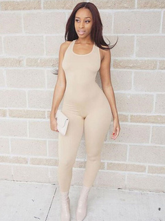 Ecru White Jumpsuit U Neck Sleeveless Skinny Leg Women's Long Jumpsuit
