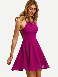 Plum Skater Dress Sleeveless Chiffon Strappy Pleated Women's Summer Dresses