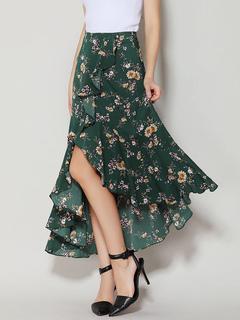 Green Long Skirt Chiffon Floral Print High Low Ruffles Women's Casual Skirts
