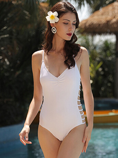 Women's White Swimsuit V Neck Cut Out Sleeveless One Piece Bathing Suit
