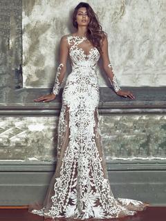 47302e172ebc Белый Maxi платье кружева круглые шеи с длинным рукавом Backless Semi Sheer  жаккардовые женские длинные платья