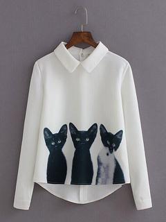 White Casual Blouses Women's Turndown Collar Long Sleeve Cat Print Top