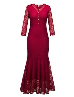Burgundy Lace Dress V Neck Ruffles 3/4 Length Sleeve Mermaid Dresses For Women