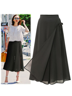Black Summer Pants Chiffon Layered Elastic Waist Wide Leg Women's Long Pants