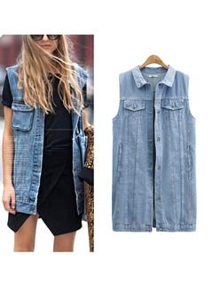 Denim Vest Jacket Light Blue Turndown Collar Sleeveless Women's Cowboy Jacket