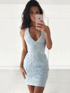 Summer Lace Dress Light Sky Blue V Neck Sleeveless Backless Women's Bodycon Dresses