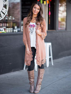 Soft Pink Cardigan Lace 3/4 Length Sleeve Long Cardigan For Women
