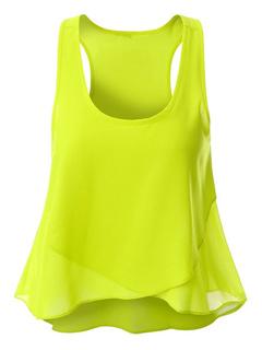 Yellow Tank Top U Neck Sleeveless Chiffon Layered Women's Top